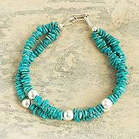 Reconstituted turquoise beaded bracelet, 'Undulating Sea' - Peruvian Reconstituted Turquoise Bracelet