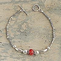 Tourmaline pendant bracelet, 'Sweet Sunset' - Sterling Silver and Tourmaline Pendant Bracelet