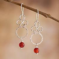 Carnelian dangle earrings, 'Olympia' - Peruvian Carnelian and Silver Dangle Earrings