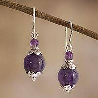 Amethyst beaded dangle earrings, 'Plum Pretty' - Sterling Silver and Amethyst Dangle Earrings