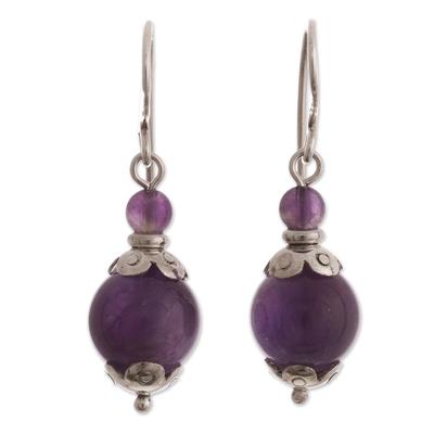 Amethyst beaded dangle earrings, 'Plum Pretty' - Sterling Silver and Amethyst Dangle Earrings