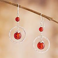 Carnelian dangle earrings, 'Radiant Glow'