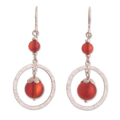 Carnelian dangle earrings, 'Radiant Glow' - Dangle Earrings with Carnelian from Peru