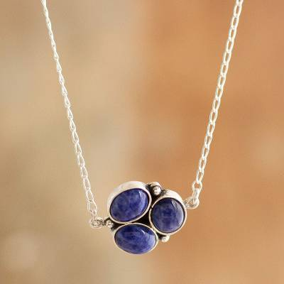 Sodalite pendant necklace, 'Simple Logic' - Natural Sodalite Pendant Necklace