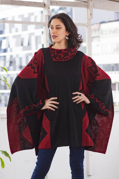Knit Alpaca Blend Red and Black Poncho