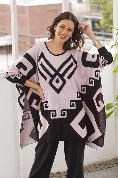 Petal Pink and Black Alpaca Blend Knit Poncho