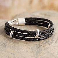 Sterling silver accent leather braided bracelet, 'Dark Illusion' - Sterling Silver Accent Black Leather Braided Bracelet