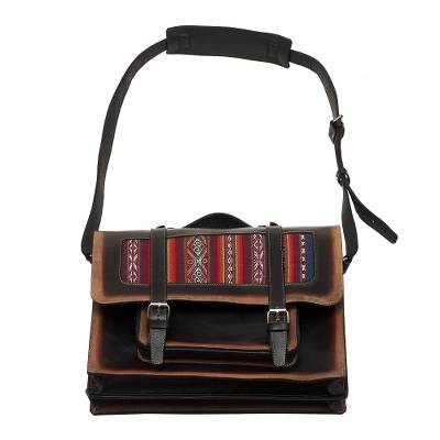 Hand Crafted Andean Leather and Wool Briefcase