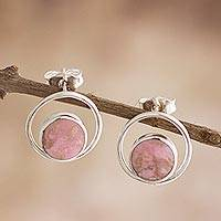 Rhodonite drop earrings, 'In the Loop' - Rhodonite and Sterling Silver Drop Earrings from Peru