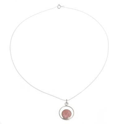 Rhodonite pendant necklace, 'In the Loop' - Rhodonite and Sterling Silver Pendant Necklace from Peru