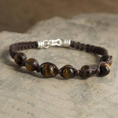 Tiger's eye beaded macrame bracelet, 'Tiger Vision' - Macrame Bracelet with Tiger's Eye Beads