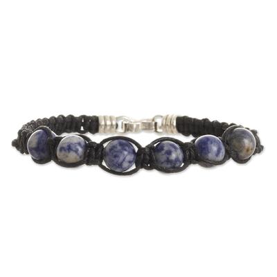 Sodalite Beaded Macrame Bracelet from Peru