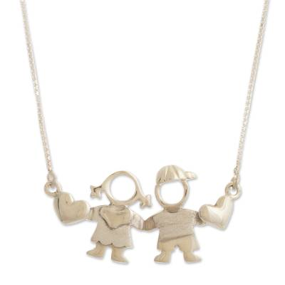 Sterling silver pendant necklace, 'Brother and Sister' - Boy and Girl Sterling Silver Pendant Necklace