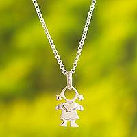 Sterling silver pendant necklace, 'Beautiful Girl'