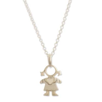 Sterling silver pendant necklace, 'Beautiful Girl' - Girl Pendant Necklace in Sterling Silver