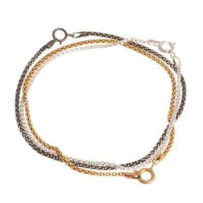 Mixed finish sterling silver bracelets, 'Glamorous Medley' (set of 3) - Gold and Sterling Silver Chain Bracelets (Set of 3)