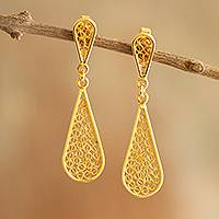 Gold plated filigree dangle earrings, 'Miraculous Tears' - Drop-Shaped 21k Gold Plated Silver Dangle Earrings from Peru