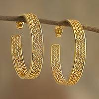 Gold plated filigree half-hoop earrings, 'Colonial Intricacy'