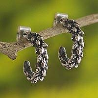 Sterling silver half-hoop earrings, 'Plantago' - Hand Crafted Sterling Silver Half-Hoop Earrings