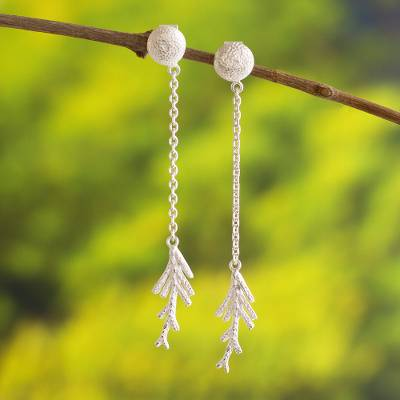 Sterling silver dangle earrings, 'White Cypress' - Sterling Silver Handmade Modern Long Earrings from Peru