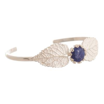 Handcrafted Silver & Sodalite Bracelet with Filigree Accents