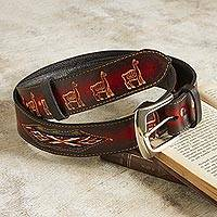 Wool-accented leather belt, 'Llama Caravan' - Embossed Llama Motif Leather and Wool Belt