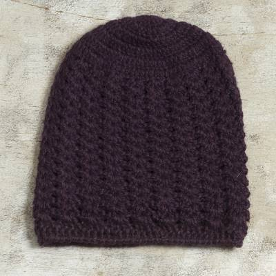 100% alpaca hat, 'Deep Purple Stars Align' - Hand Crocheted Deep Purple Alpaca Hat