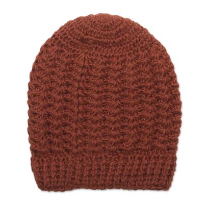 Hand Crocheted Burnt Sienna 100% Alpaca Hat