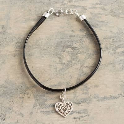 Faux leather and sterling silver charm bracelet, 'Heart's Home in Black' - Black Faux Leather Heart Charm Bracelet