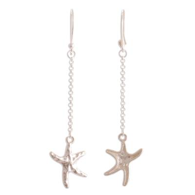 Andean Sterling Silver Starfish Earrings 2.8 Inches Long