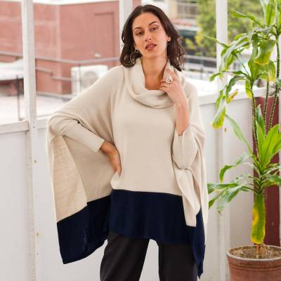 Baby alpaca blend poncho sweater, 'Effortless Chic in Ivory' - Ivory and Blue Poncho Sweater from Peru