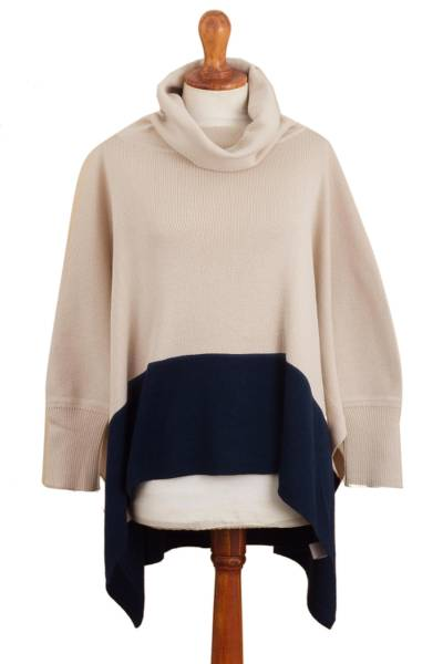 Ivory and Blue Poncho Sweater from Peru