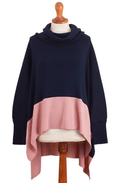 Knit Poncho Sweater in Navy and Pink