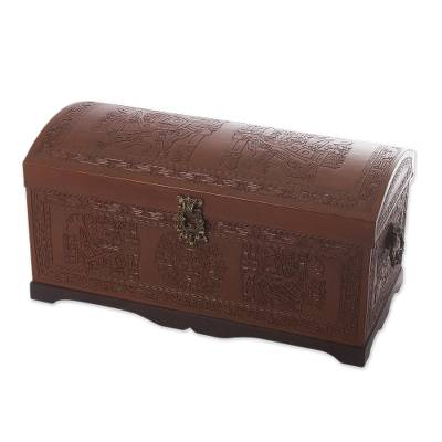 Cedar and leather chest, 'Sun and Sky' - Unique Traditional Leather Wood Chest