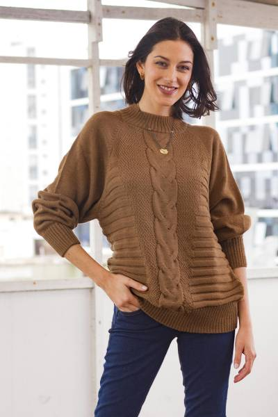 Alpaca blend sweater, 'Braided Sepia' - Warm Brown Braided Detail Alpaca Blend Sweater from Peru