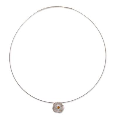 Andean Citrine and Sterling Silver Rose Pendant Necklace