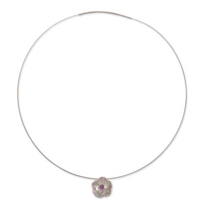 Andean Amethyst and Sterling Silver Rose Pendant Necklace