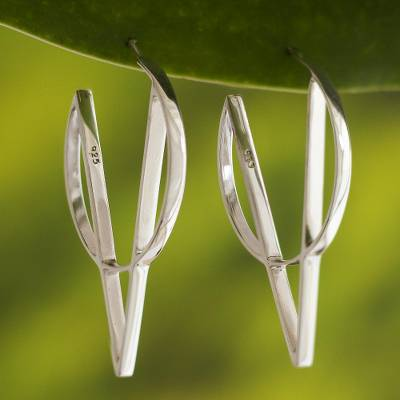 Sterling silver drop earrings, 'Brilliant Geometry' - Modern Geometric Sterling Silver Drop Earrings