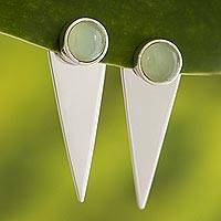 Opal drop earrings, 'Precious Swords' - Andean Opal and Silver Drop Earrings