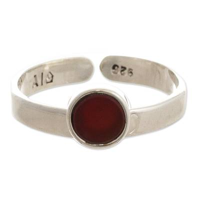Inlaid Carnelian Solitaire Ring from Peru