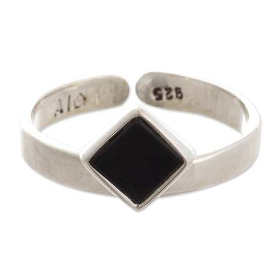 Hand Crafted Inlaid Obsidian Ring