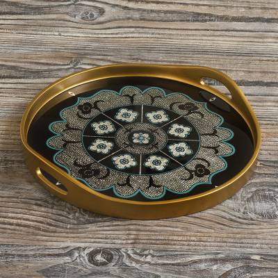Reverse-painted glass tray, 'Andean Mandala in Silver' - Black and Silver Reverse-Painted Glass Tray