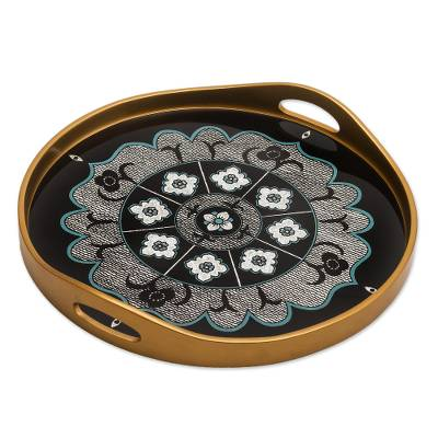 Black and Silver Reverse-Painted Glass Tray