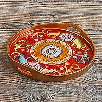 Reverse-painted glass tray, 'Royal Medallion in Red' - Red Reverse-Painted Glass Serving Tray