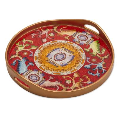 Red Reverse-Painted Glass Serving Tray