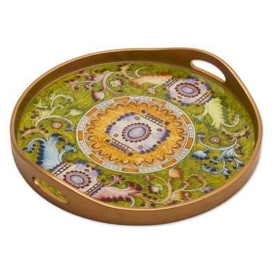 Hand Painted Green and Gold Glass Tray