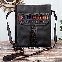 Leather shoulder bag, 'Road to Adventure' - Andean Style Leather Shoulder Bag