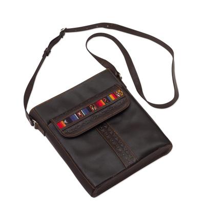 Andean Style Leather Shoulder Bag