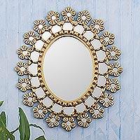 Wood Accent Mirrors Pair 2 Bronze Leaf /'Radiant Flower Stars/' NOVICA Peru