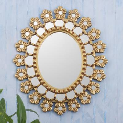 Wood and glass wall mirror, 'Cusco Bouquet' - Gold Toned Floral Wall Mirror
